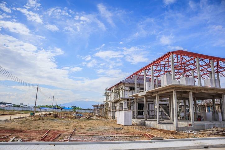 Steel building construction site
